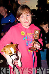 Ciara Maher with Squeaky who won best groomed terrier at the Culture night in Cahersiveen on Friday night last.