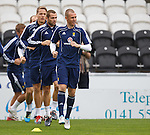 Kenny Miller leading the line at Scotland training in Paisley