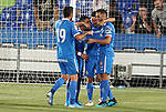 Getafe CF's Jorge Molina, Angel Rodriguez, Markel Bergara and Bruno Gonzalez celebrate goal during friendly match. August 10,2019. (ALTERPHOTOS/Acero)