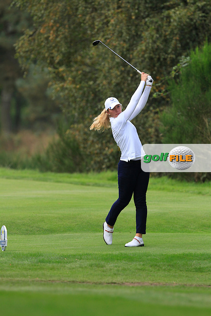 Linnea Strom (SWE) on the 2nd tee of the Mixed Fourballs during the 2014 JUNIOR RYDER CUP at the Blairgowrie Golf Club, Perthshire, Scotland. <br /> Picture:  Thos Caffrey / www.golffile.ie