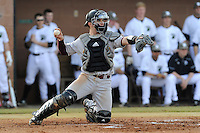 Catcher Babe Thomas (8) of the Winthrop University Eagles throws the ball back to the pitcher in a game against the University of South Carolina Upstate Spartans on Wednesday, March 4, 2015, at Cleveland S. Harley Park in Spartanburg, South Carolina. Upstate won, 12-3. (Tom Priddy/Four Seam Images)