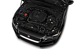 Car stock 2019 Jaguar XE R-Sport 4 Door Sedan engine high angle detail view