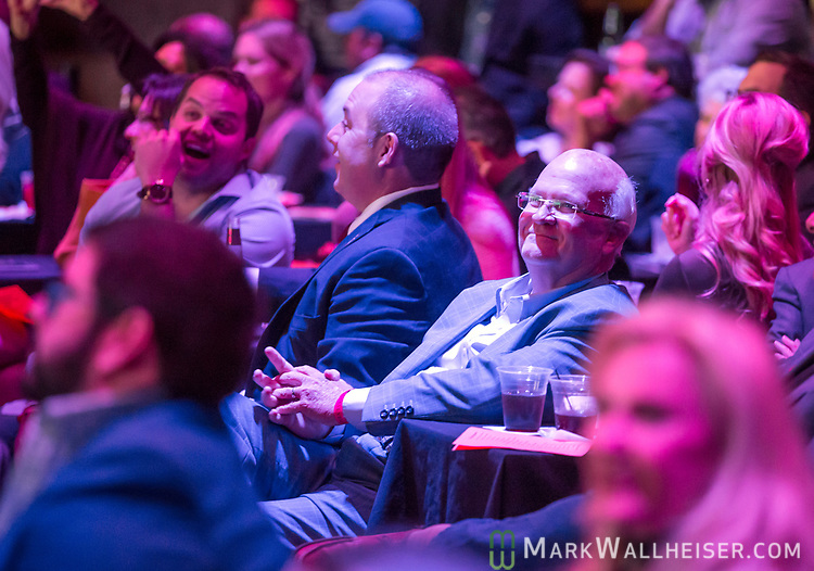 Senator Dennis Baxley (R-Lady Lake) watches the 62nd Annual Press Skits 2017, The Crony Awards, sponsored by the Florida Capitol Press Corps, held at The Moon in Tallahassee, Florida March 14, 2017.  The funds raised go to the Barbara Frye Scholarship Fund supporting Florida journalism students attending Florida schools.