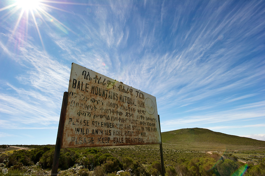 A worn and battered sign welcomes vistors to the Bale Mountains National Park.