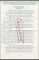 BNPS.co.uk (01202 558833)<br /> Pic: ProfilesinHistory/BNPS<br /> <br /> Walt Disney's last WIll and Testament.<br /> <br /> Two signed Walt Disney documents of enormous historical significance are up for auction and are expected to fetch more than &pound;100,000 between them.<br /> <br /> The animator's will is valued at $60,000 (&pound;48,350), while a legal licence for the use of the Disney name for future Disney ventures is valued at $80,000 (&pound;64,470). <br /> <br /> The prized documents, which are both signed by Disney, will be auctioned off in Los Angeles on Friday.
