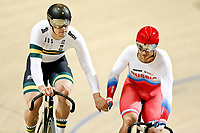 Picture by SWpix.com - 03/03/2018 - Cycling - 2018 UCI Track Cycling World Championships, Day 4 - Omnisport, Apeldoorn, Netherlands - Men's Sprint Quarterfinals - Matthew Glaetzer of Australia and Denis Dmitriev of Russia