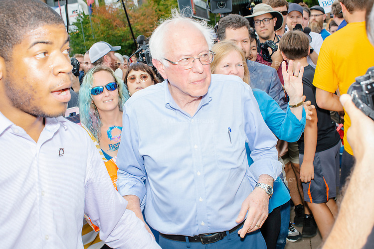Democratic presidential candidate Bernie Sanders arrives to speak at the Political Soapbox at the Iowa State Fair in Des, Moines, Iowa, on Sun., Aug. 11, 2019.