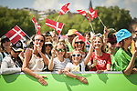 Danish fans at sign on before the start of Stage 10 of the 2018 Tour de France running 158.5km from Annecy to Le Grand-Bornand, France. 17th July 2018. <br /> Picture: ASO/Pauline Ballet | Cyclefile<br /> All photos usage must carry mandatory copyright credit (&copy; Cyclefile | ASO/Pauline Ballet)