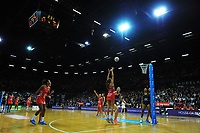 Helen Housby shoots for goal during the Taini Jamieson Trophy Series netball match between the New Zealand Silver Ferns and England Roses at Claudelands Arena in Hamilton, New Zealand on Wednesday, 13 September 2017. Photo: Dave Lintott / lintottphoto.co.nz
