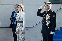 Queen Letizia of Spain Delivers Spanish Flag to National Police.