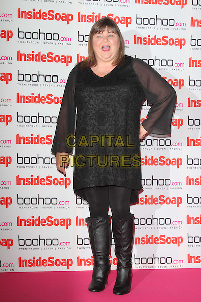 Cheryl Fergison.The Inside Soap Awards 2012, One Marylebone, London, England..September 24th, 2012.full length black dress boots tights hand on hip mouth open lace.CAP/ROS.©Steve Ross/Capital Pictures