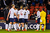 Everton's midfielder Tom Davies (4) for England U21's and Aston Villa 's (on loan from Tottenham Hotspur)  midfielder Josh Onomah (8) for England U21's during the International Euro U21 Qualification match between England U21 and Ukraine U21 at Bramall Lane, Sheffield, England on 27 March 2018. Photo by Stephen Buckley / PRiME Media Images.
