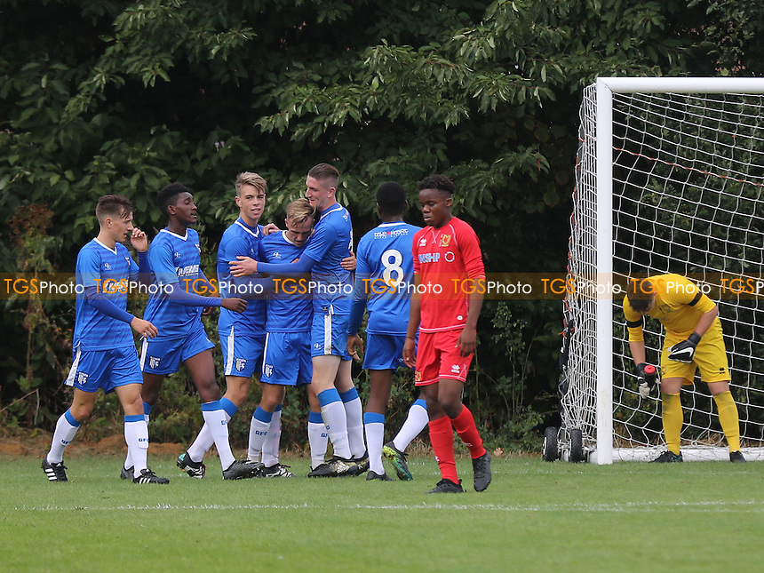 Gillingham celebrate their opening goal during Gillingham Under-18 vs Milton Keynes Dons Under-18, EFL Youth Alliance Football at Beechings Cross, Gillingham FC Training Ground on 8th October 2016