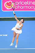 12th January 2018,  Kooyong Lawn Tennis Club, Kooyong, Melbourne, Australia; Priceline Pharmacy Kooyong Classic tennis tournament; Belinda Bencic of Switzerland serves against Andrea Petkovic of Germany during the Women's final of the Kooyong Classic