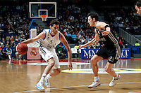 Real Madrid's Rudy Fernandez and Brose's Casey Jacobsen during Euroliga match. February 28,2013.(ALTERPHOTOS/Alconada)