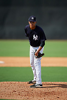 New York Yankees pitcher Juan Then (41) looks in for the sign during a Florida Instructional League game against the Philadelphia Phillies on October 11, 2018 at Yankee Complex in Tampa, Florida.  (Mike Janes/Four Seam Images)