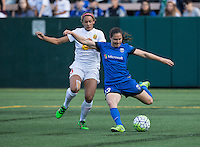 Seattle, WA - Saturday July 16, 2016: Lynn Williams, Kendall Fletcher during a regular season National Women's Soccer League (NWSL) match between the Seattle Reign FC and the Western New York Flash at Memorial Stadium.