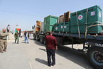 A truck carrying crates containing animals leaves Gaza at Israeli Erez crossing in the northern Gaza Strip, during the evacuation of animals from the Palestinian enclave to relocate to sanctuaries in Jordan, on April 7, 2019. Forty animals including five lions are to be rescued from squalid conditions in the Gaza Strip, an animal welfare group said. Photo by Ashraf Amra