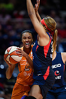 Washington, DC - July 30, 2019: Phoenix Mercury forward DeWanna Bonner (24) drives to the basket defended by Washington Mystics forward Tianna Hawkins (21) during first half action of game between the Phoenix Mercury and Washington Mystics at the Entertainment & Sports Arena in Washington, DC. (Photo by Phil Peters/Media Images International)