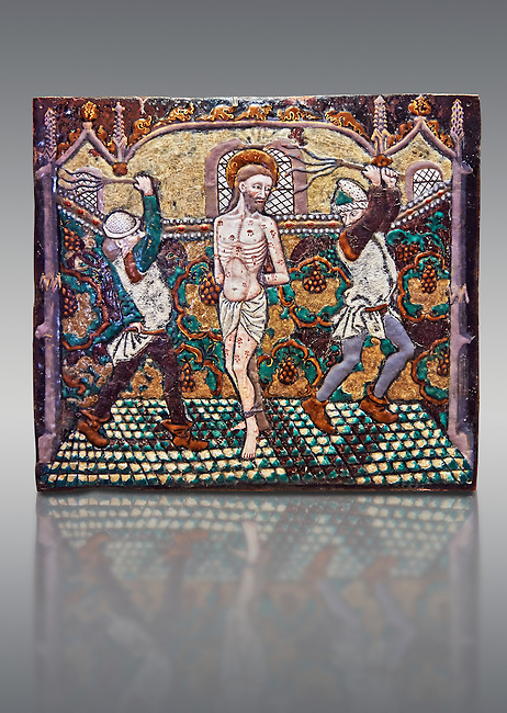 Enamelled plaque depicting Christ's flagellation made in Limoges at the end of the 15th century, attributed to Master Pseudo-Monvaerni. inv 6309, The Louvre Museum, Paris.