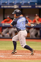 Tampa Bay Rays second baseman Riley Unroe (1) during an Instructional League game against the Boston Red Sox on September 25, 2014 at Tropicana Field in St. Petersburg, Florida.  (Mike Janes/Four Seam Images)