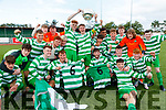 Killarney Celtic co captains Terry Sparling and Evan Looney lift the cup as they celebrate with teammates at the FAI Youth final Mounthawk Park between Killarney Celtic and Douglas Hill at Mounthawk, Tralee on Sunday.