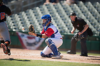 Stockton Ports catcher JJ Schwarz (29) prepares to make a play at home plate during a California League game against the San Jose Giants on April 9, 2019 in Stockton, California. San Jose defeated Stockton 4-3. (Zachary Lucy/Four Seam Images)
