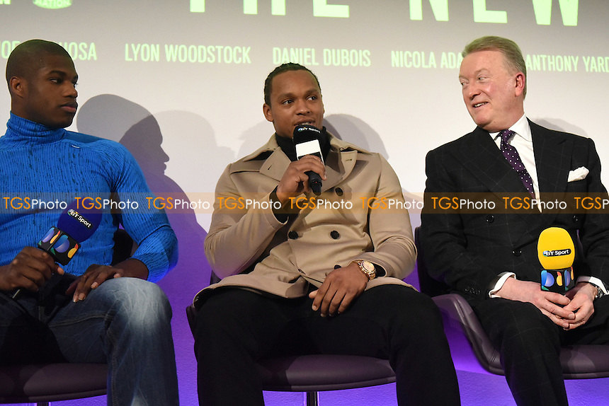 Boxer Anthony Yarde (C) and promoter Frank Warren during a BT Sport Press Conference at the BT Tower on 23rd January 2017