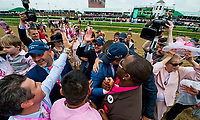 LOUISVILLE, KY - MAY 04: Connections to Monomoy Girl celebrate after winning the 144th Kentucky Oaks at Churchill Downs on May 4, 2018 in Louisville, Kentucky. (Photo by Scott Serio/Eclipse Sportswire/Getty Images)