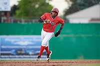 Batavia Muckdogs shortstop Demetrius Sims (3) runs the bases during a game against the West Virginia Black Bears on June 19, 2018 at Dwyer Stadium in Batavia, New York.  West Virginia defeated Batavia 7-6.  (Mike Janes/Four Seam Images)