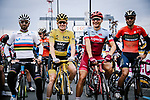 World Champion Alejandro Valverde (ESP) Movistar Team, Tour de France Champion Geraint Thomas (WAL) Team Sky, Marcel Kittel (GER) Katusha Alpecin and Vincenzo Nibali (ITA) Bahrain-Merida line up for the start of the 2018 Saitama Criterium, Japan. 4th November 2018.<br /> Picture: ASO/Pauline Ballet | Cyclefile<br /> <br /> <br /> All photos usage must carry mandatory copyright credit (&copy; Cyclefile | ASO/Pauline Ballet)