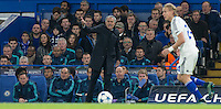 Chelsea Manager José Mourinho shouts instructions during the UEFA Champions League Group G match between Chelsea and Dynamo Kyiv at Stamford Bridge, London, England on 4 November 2015. Photo by Andy Rowland.