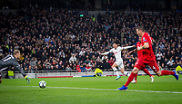 Son Heung-Min of Spurs scores a goal during the UEFA Champions League group match between Tottenham Hotspur and Bayern Munich at Wembley Stadium, London, England on 1 October 2019. Photo by Andy Rowland.