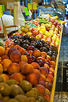 Apples, Green, Red, Peaches, Fresh Fruit Produce, Grand Central Market, Los Angeles CA, Urban, Downtown, Farm-fresh produce, fruits,  Public, Southern California, Fruits