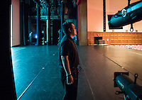 Performing arts facilities stage technician Nick Yeh '17 makes sure everything is ready before a performance in Thorne Hall, March 17, 2016. Nick has worked as a stage tech since he was a first year.<br />