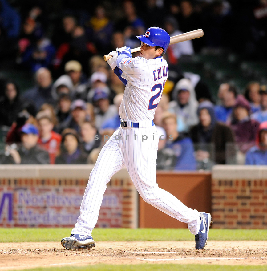 TYLER COLVIN, of the Chicago Cubs, in action during the Cubs game against the Washington Nationals at  Wrigley Field in Chicago, IL  on April 26, 2010...The Cubs  win 4-3.
