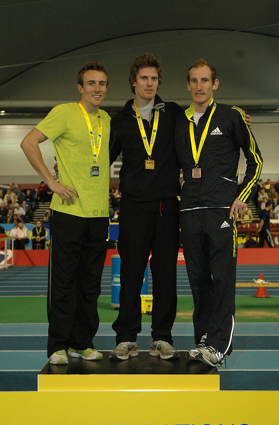Photo: Tony Oudot/Richard Lane Photography. Aviva World Trials & UK Championships. 14/02/2010. .Mens 1500m. .L to R: Tim Bayley (silver), Colin McCourt (gold) and Scot Overall (bronze).