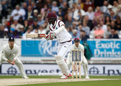26th August 2017, Headingley, Leeds, England; International Test Match Series, Day 2; England versus West Indies; Kraigg Brathwaite of the West Indies completed his half century before lunch today