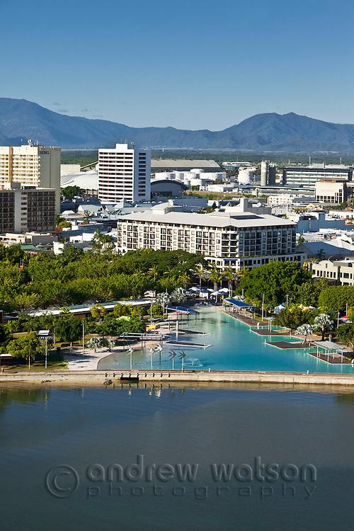 Aerial view of Esplanade lagoon and city skyline.  Cairns, Queensland, Australia.