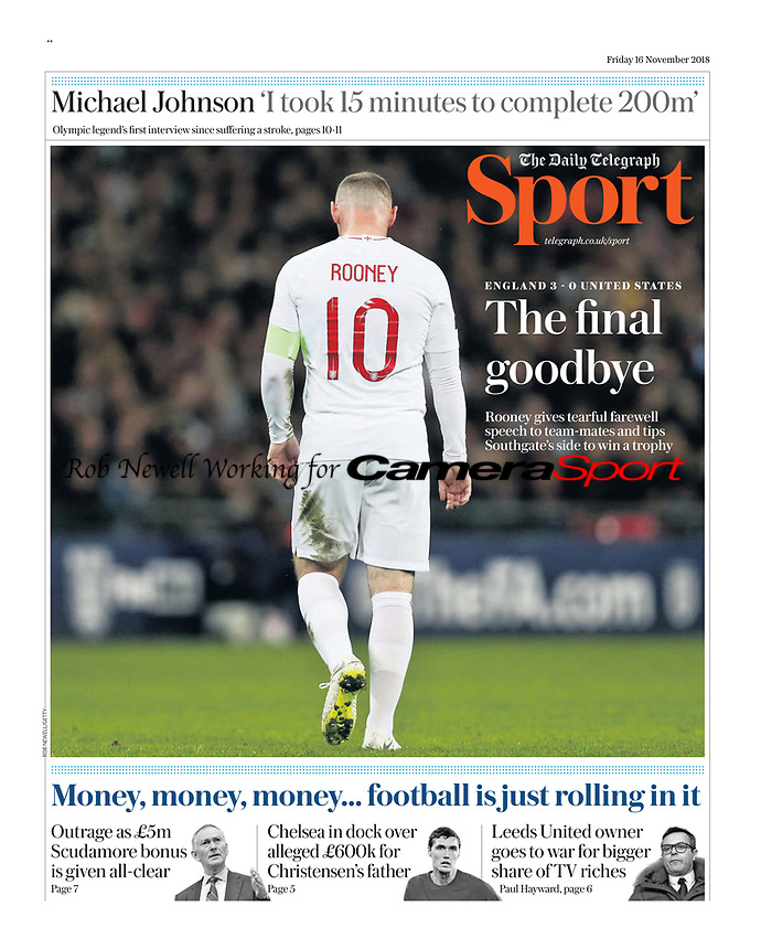 Daily Telegraph - 16-Nov-2018 - 'The final goodbye' - Photo by Rob Newell (Camerasport via Getty Images)