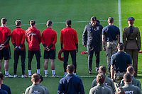 Wales manager lays a wreath following the November 11th armistice silence ahead of a Wales Training Session at Cardiff City Stadium, Cardiff, Wales on 11 November 2016. Photo by Mark  Hawkins.
