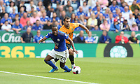 Leicester City's Ricardo Pereira is fouled by Wolverhampton Wanderers' Jonathan Castro Otto <br /> <br /> <br /> <br /> Photographer Stephen White/CameraSport<br /> <br /> The Premier League - Leicester City v Wolverhampton Wanderers - Sunday 11th August 2019 - King Power Stadium - Leicester<br /> <br /> World Copyright © 2019 CameraSport. All rights reserved. 43 Linden Ave. Countesthorpe. Leicester. England. LE8 5PG - Tel: +44 (0) 116 277 4147 - admin@camerasport.com - www.camerasport.com