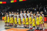 20191114 - CHARLEROI , BELGIUM : Belgian Cats pictured before the female basketball match between the Belgian national team Belgian Cats and Ukraine , a first qualification game for the Belgian Cats in Group G towards the Women's European Eurobasket Basketball Championships 2021 in Lyon, Paris and Valencia, on Thursday 14 th November in the Dome in Charleroi , Belgium . PHOTO SPORTPIX | STIJN AUDOOREN