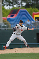 Frederick Keys pitcher Tanner Scott (31) on the mound during a game against the Myrtle Beach Pelicans at Ticketreturn.com Field at Pelicans Ballpark on April 10, 2016 in Myrtle Beach, South Carolina. Myrtle Beach defeated Frederick 7-5. (Robert Gurganus/Four Seam Images)