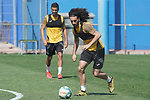 Getafe's Angel Rodriguez (l) and Marc Cucurella during training session. May 25,2020.(ALTERPHOTOS/Acero)