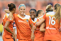 Houston, TX - Saturday July 15, 2017: Poliana Barbosa Medeiros and Rachel Daly celebrate Poliana's goal during a regular season National Women's Soccer League (NWSL) match between the Houston Dash and the Washington Spirit at BBVA Compass Stadium.