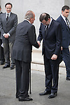 King Juan Carlos of Spain and Spanish prime minister Mariano Rajoy arrive to the state funeral for former Spanish prime minister Adolfo Suarez at the Almudena Cathedral in Madrid, Spain. March 31, 2014. (ALTERPHOTOS/Victor Blanco)