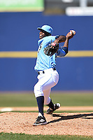 Wilmington Blue Rocks pitcher Ali Williams (23) delivers a pitch during a game against the Myrtle Beach Pelicans on April 27, 2014 at Frawley Stadium in Wilmington, Delaware.  Myrtle Beach defeated Wilmington 5-2.  (Mike Janes/Four Seam Images)