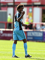 Sido Jombati of Wycombe Wanderers during the Sky Bet League 2 match between Exeter City and Wycombe Wanderers at St James' Park, Exeter, England on 26 September 2015. Photo by Pinnacle Photo Agency.
