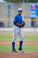Toronto Blue Jays starting pitcher Naswell Paulino (9) gets ready to deliver a pitch during a Florida Instructional League game against the Pittsburgh Pirates on September 20, 2018 at the Englebert Complex in Dunedin, Florida.  (Mike Janes/Four Seam Images)